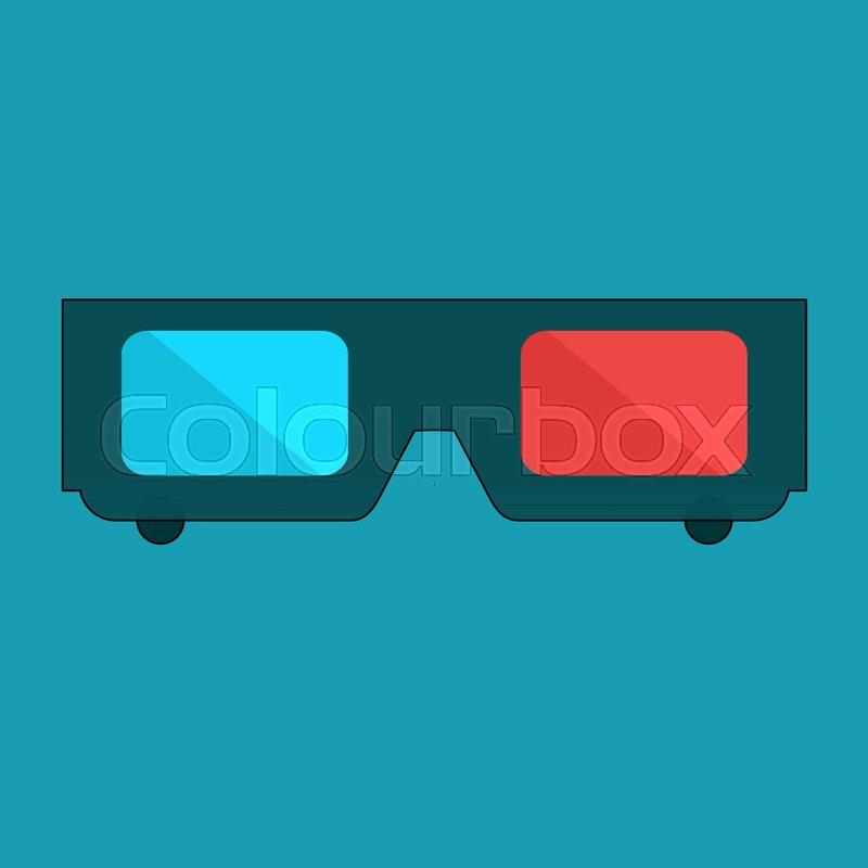 800x800 3d Glasses Vector Illustration Of Flat. A Pair Of 3d Glasses