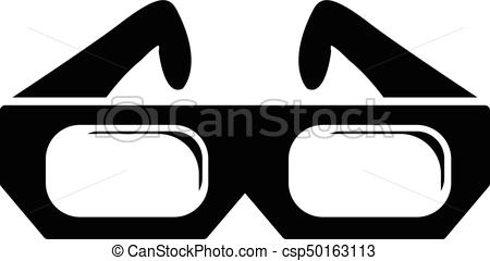 450x240 3d Glasses Icon, Simple Black Style. 3d Glasses Icon. Simple