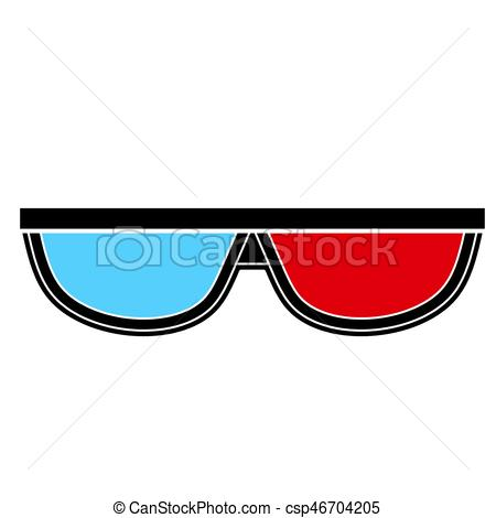 450x470 3d Glasses Vector. Image Of 3d Glasses Isolate On White Background.