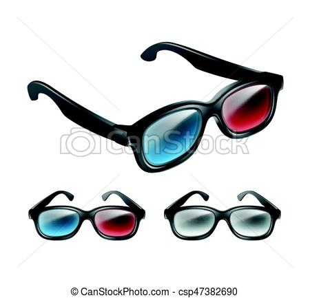 450x433 Set Of 3d Glasses. Vector Set Of Black Plastic 3d Glasses In