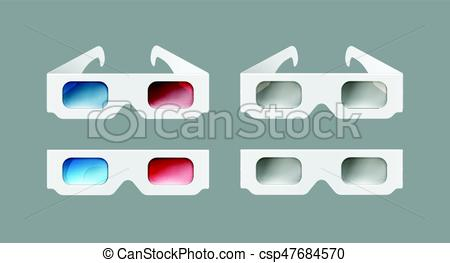 450x263 Set Of 3d Glasses. Vector Set Of White Paper 3d Glasses Top, Front