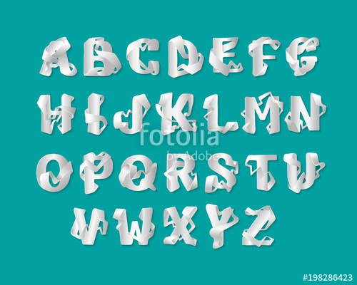 500x400 3d Origami Alphabet Set Of Uppercase Letters. Vector Isolated