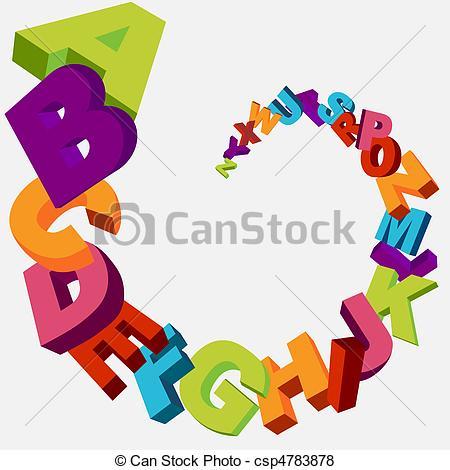 450x470 Alphabet Background. Colorful 3d Alphabet Letters Vector Background.