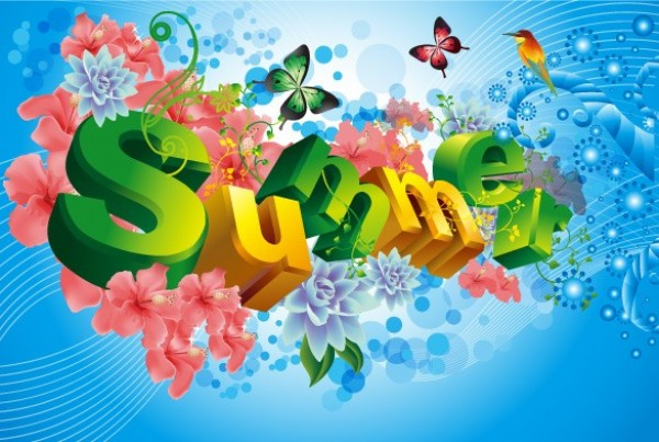 600x403 3d Letters Summer Vector Abstract Background