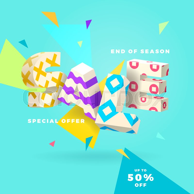 800x800 Fresh Sale Banner, 3d Letters And Abstract Shapes, Vector