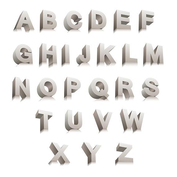 570x570 3d Vector Letters