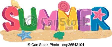 450x191 Vector Illustration Of Summer 3d Letters With Elements.