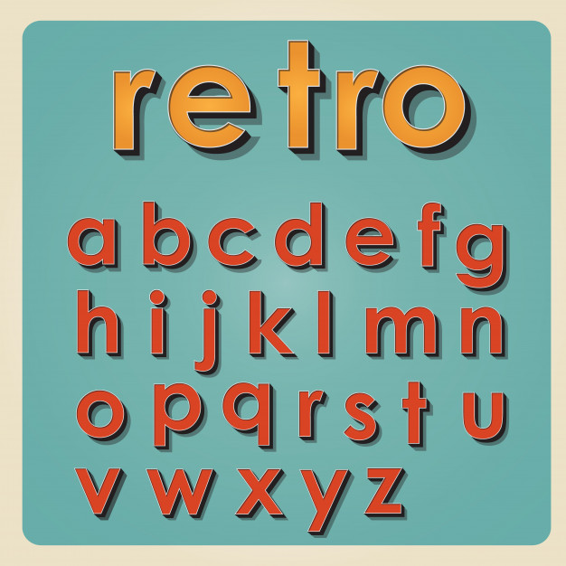 626x626 Vintage Alphabet. Retro Type Font. 3d Letters Vector Premium