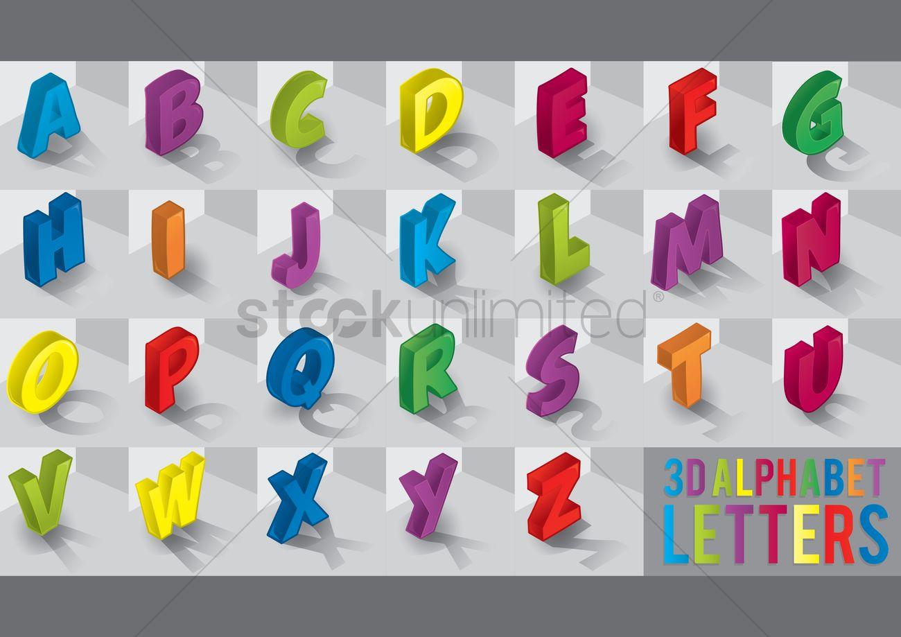 1300x919 3d Alphabet Letters Vector Image