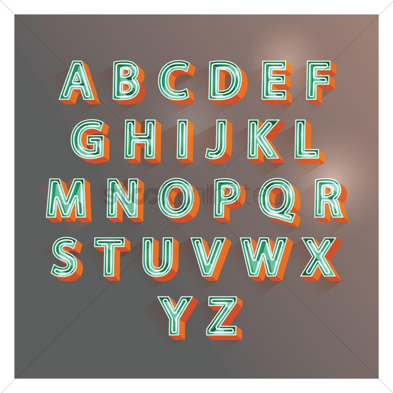 1300x1300 3d Alphabet Letters Vector Image