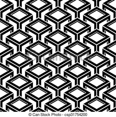 450x451 Black And White Illusive Abstract Geometric Seamless 3d Pattern