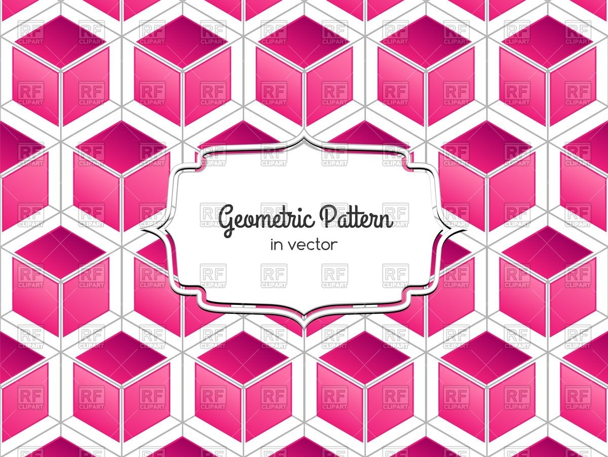 1200x901 Geometric Pattern With Pink 3d Cube And Ornamental Frame Vector