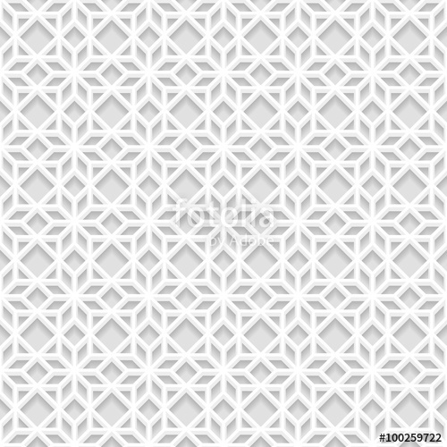 500x500 Seamless White 3d Pattern, East Ornament, Indian Ornament, Vector