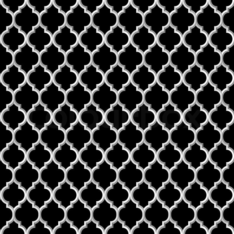 800x800 3d Black And White Islamic Seamless Pattern. Vector Background