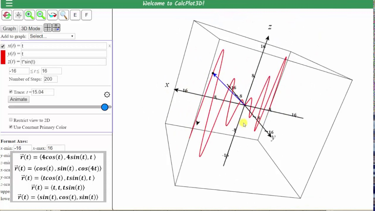 1280x720 Graph Space Curves Given As A Vector Function Using 3d Calc