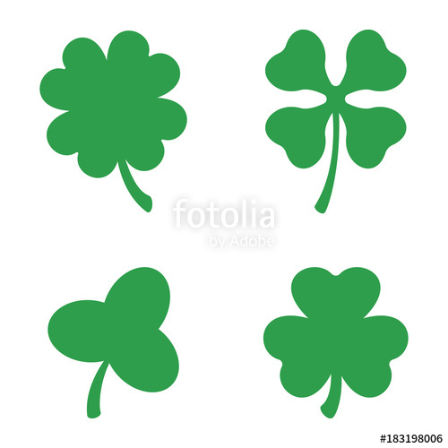 500x500 Set Of Three And Four Leaf Clovers. Vector Icon. St Patricks Day