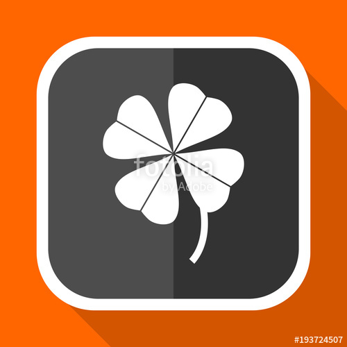 500x500 Four Leaf Clover Vector Icon. Flat Design Square Internet Gray