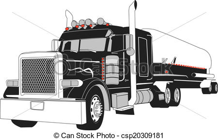 450x290 Semi Tanker Truck. 18 Wheeler, Semi Truck 34 Head On Veiw Vector.