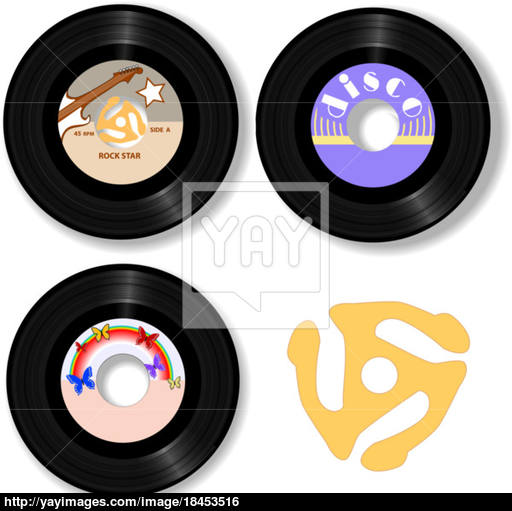 512x511 Retro 45 Rpm Records Amp Spindle Adapter Vector