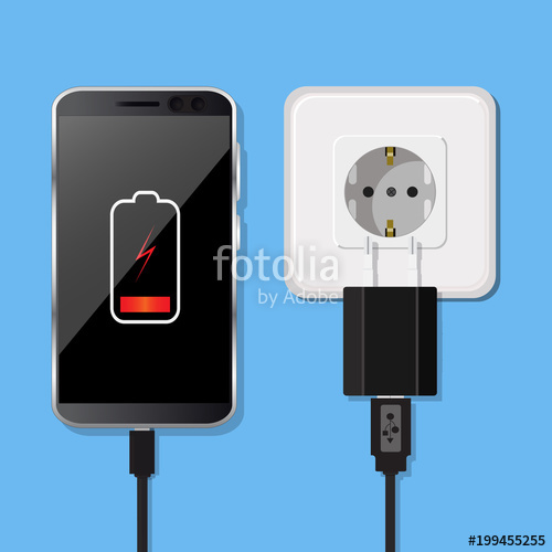 500x500 Smartphone And Charger Adapter. Low Battery. Vector Illustration