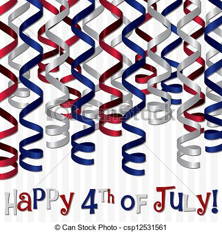 450x470 Happy 4th July! Happy 4th Of July Curling Ribbon Card In Vector