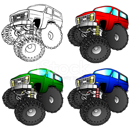 440x440 Cartoon Illustration Of A 4x4 Suv Truck With Large Stock Vector