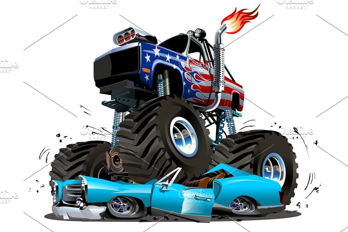 1160x774 Vector Cartoon Monster Truck Vector Car Truck Monster Cartoon 4x4