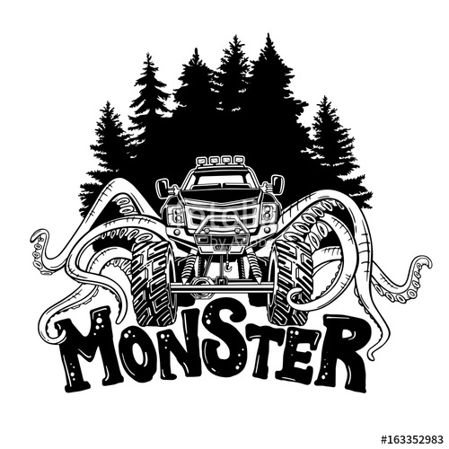 500x500 Vector Monster Truck With Tentacles Of The Mollusk And Forest