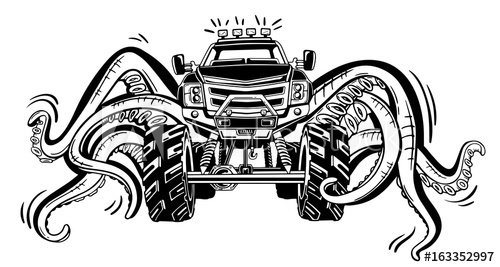 500x267 Vector Monster Truck With Tentacles Of The Mollusk. Mystical