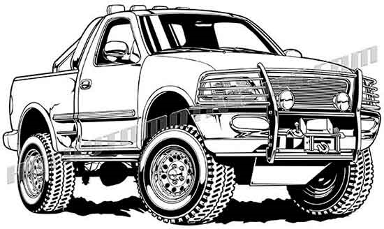 550x328 Ford F 150 4x4 Pickup Truck Vector Clip Art, Buy Two Images Get