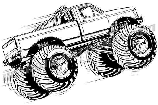 550x365 Ford F 150 Monster Truck Vector Clip Art, Buy Two Images Get One