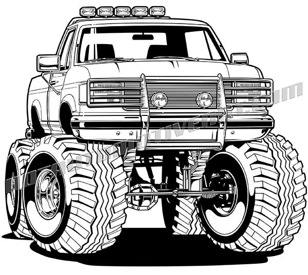 600x536 1996 Ford F 150 4x4 Pickup Truck Vector Clip Art, Buy Two Images