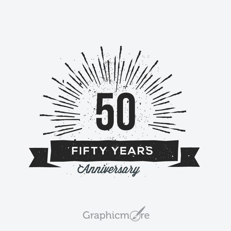 800x800 50th Anniversary Retro Label Design Free Vector File Download