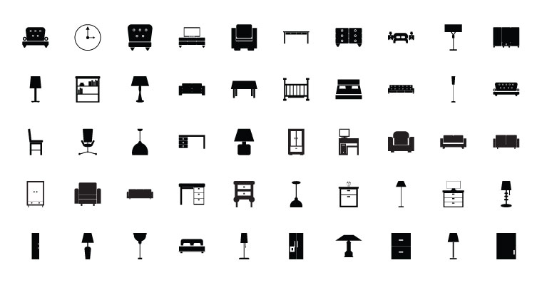 760x400 Gfx Stacks 50 Vector Furniture Icons