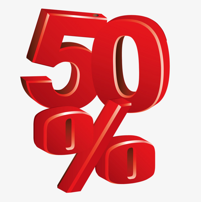 650x651 Vector 50%, 3d, Red, Five Fold Png And Vector For Free Download