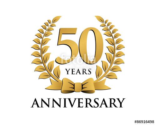500x400 Anniversary Logo Ribbon Wreath 50 Stock Image And Royalty Free