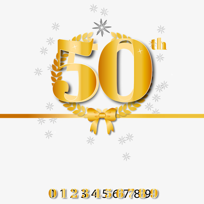 650x651 Golden 50th Anniversary Vector Material, Golden 50th Anniversary