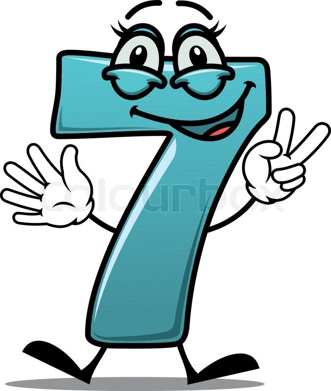 678x800 Cartoon Cute Happy Laughing Number 7 Seven Making A Victory Or