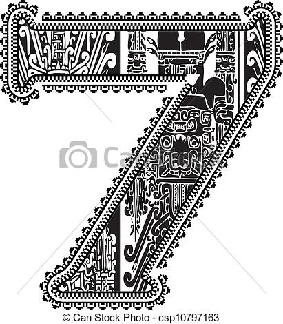 411x470 Ancient Number 7. Vector Illustration.