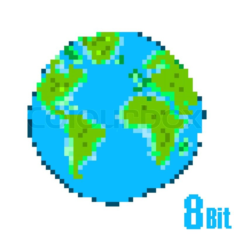 800x800 Earth Day Pixel. Save The Earth Concept Style 8 Bit. Stock