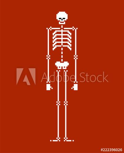 405x500 Skeleton Pixel Art. Skull And Bone 8 Bit. Vector Illustration