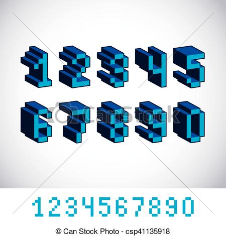 450x470 Vector Digits, Numerals Created In 8 Bit Style. Pixel Art Numbers