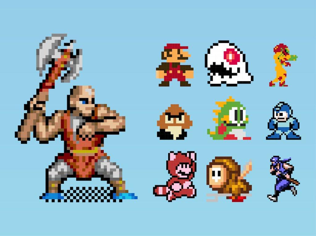 1024x763 8 Bit Gaming Characters Vector Art Amp Graphics