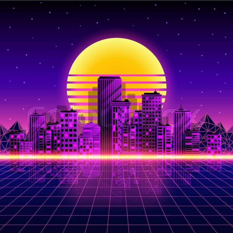 800x800 Retro Neon City Background. Neon Style 80s. Vector Illustration