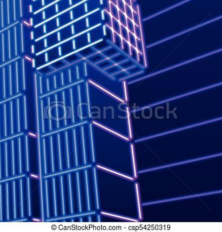450x470 Neon Background With Ultraviolet 80s Grid Landscape. Neon