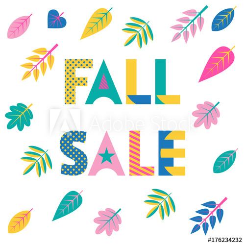 500x500 Fall Sale. Trendy Geometric Font In Memphis Style Of 80s 90s