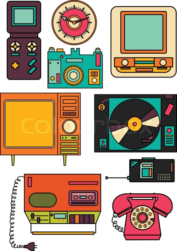 563x800 Set Of Color Vintage Flat Electronic Icons 80 90s. Vector Eps