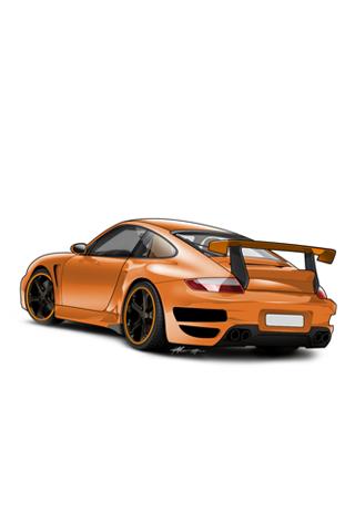 320x480 Orange Porsche 911 Gt Vector Iphone Wallpaper Idesign Iphone