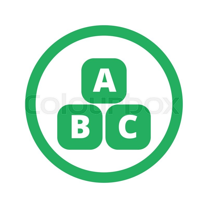800x800 Flat Green Abc Blocks Icon And Green Circle Stock Vector Colourbox