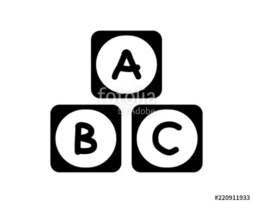 500x400 Black Toy Abc Blocks Playing Image Vector Icon Logo Symbol Set